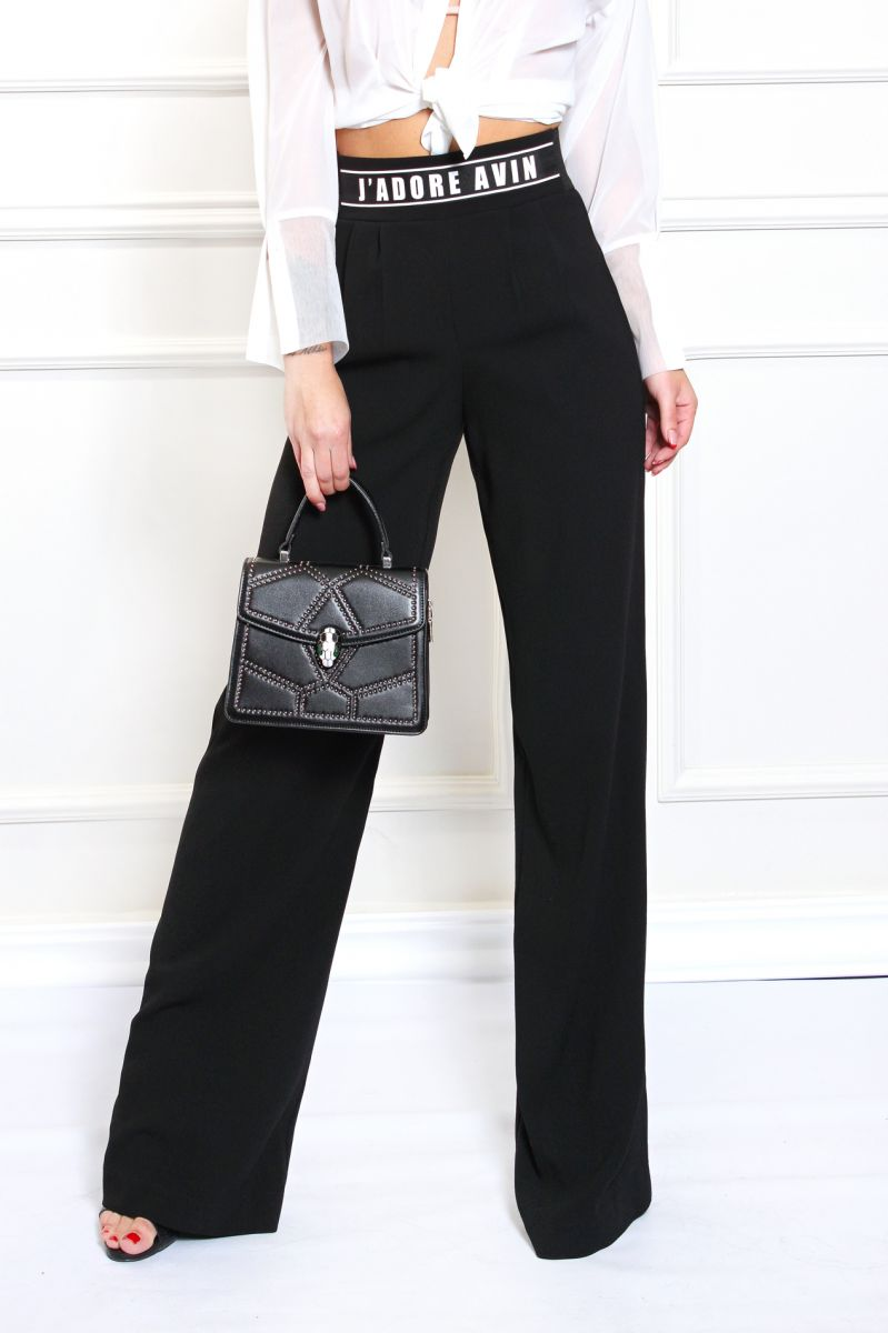 Широк класически панталон в черно с ефектен колан J'Adore AVIN