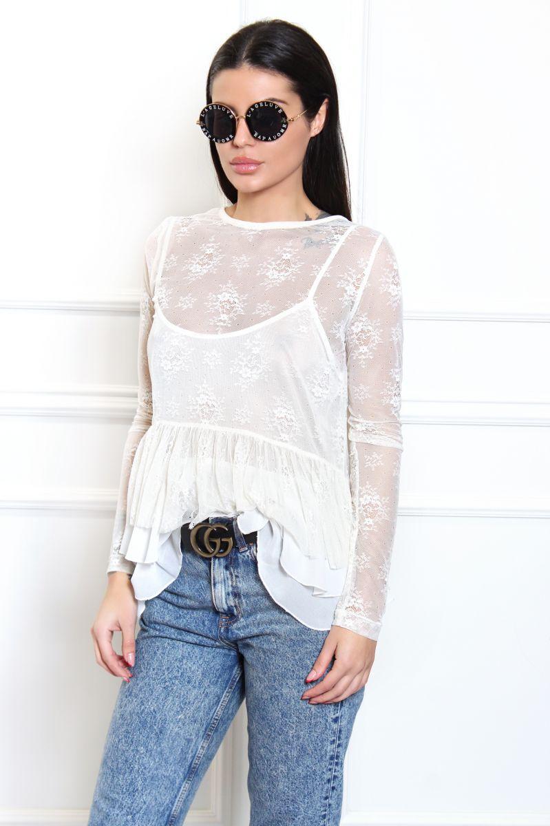 Дантелена блуза в две части без подплата
