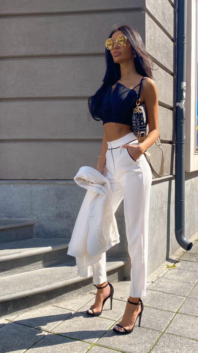 бял класически панталон Avin