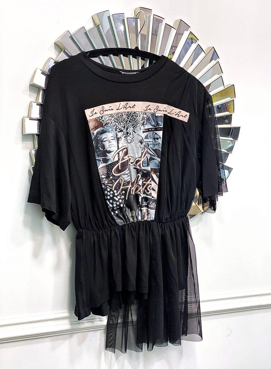 черна памучна тениска avin