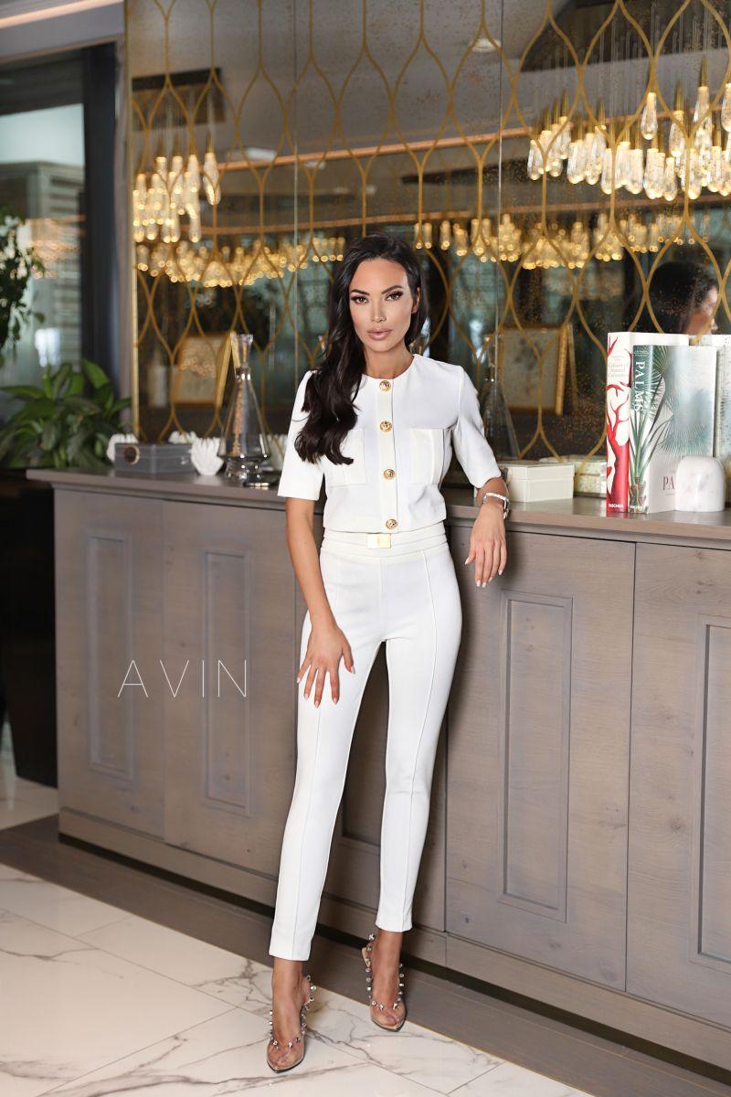 Crop блуза за висока талия и златни копчета avin