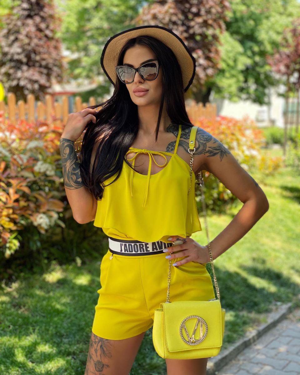 жълти къси панталонки avin