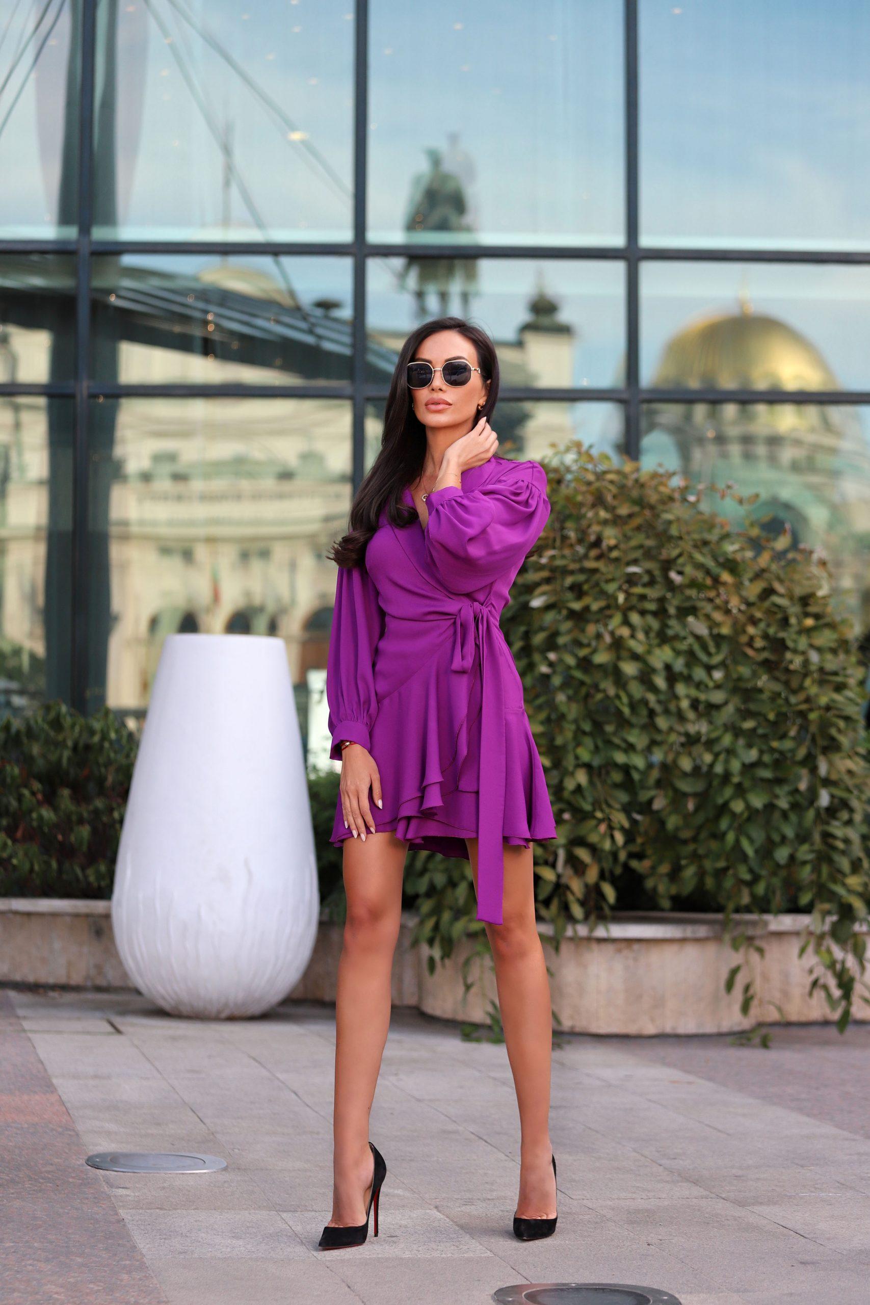 лилава дизайнерска рокл avin
