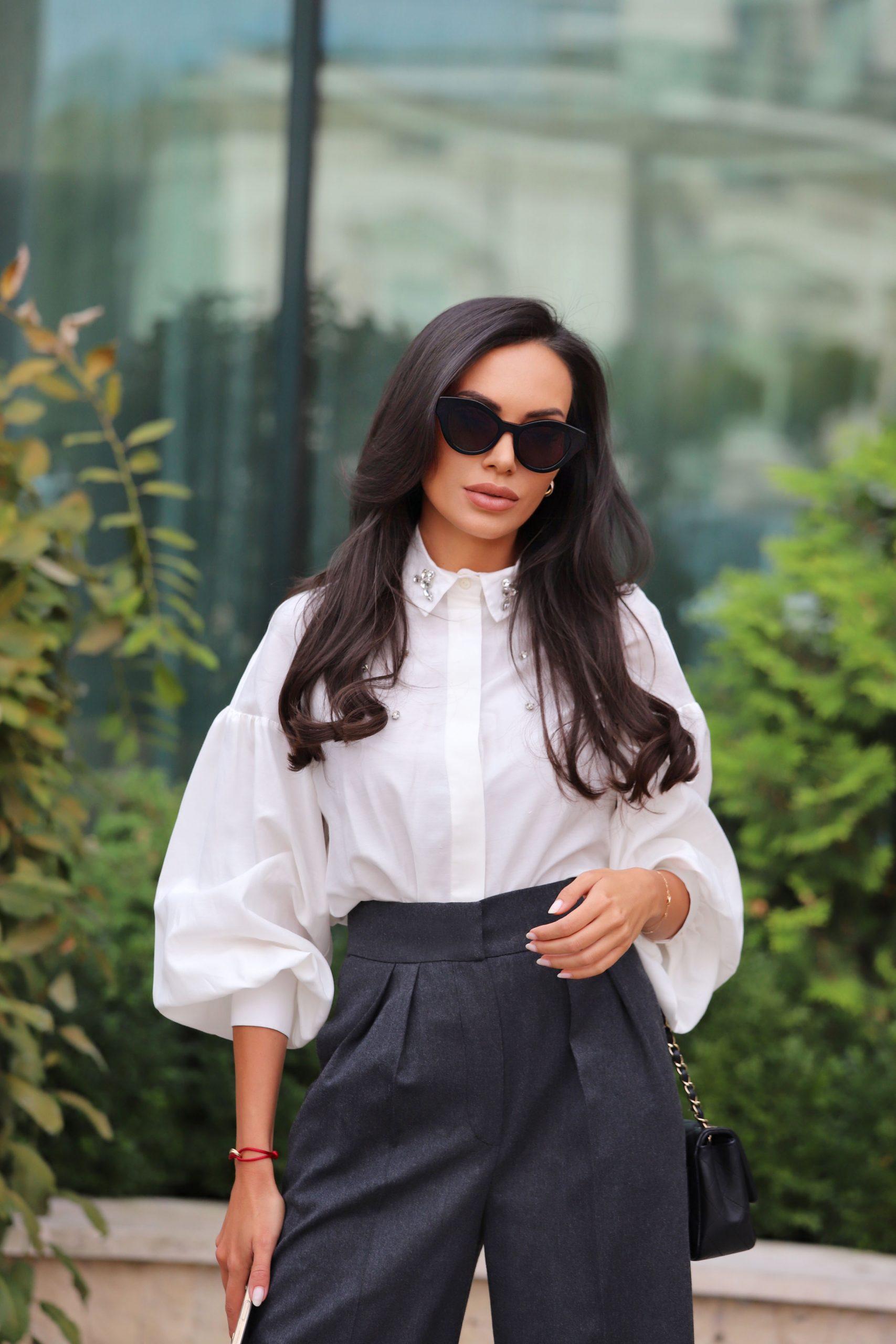 дизайнерска бутикова бяла риза с камъни avin