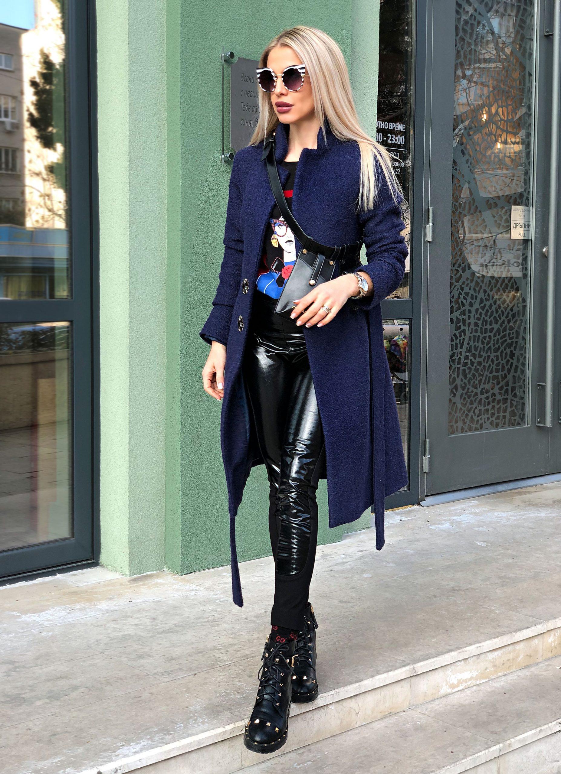 палто от вълна avin тъмно синьо палто от вълна