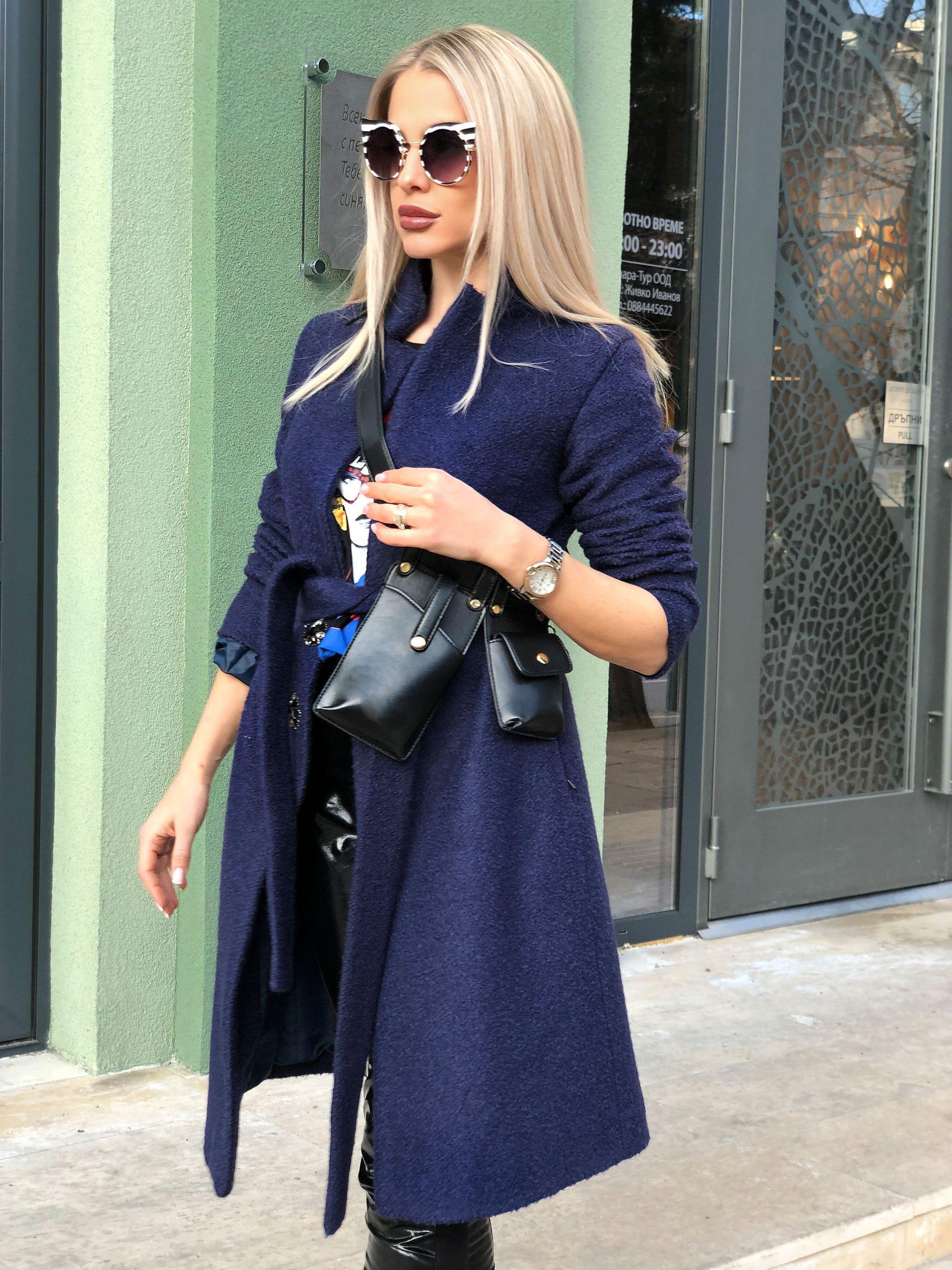 Палто Dark Blue Wool