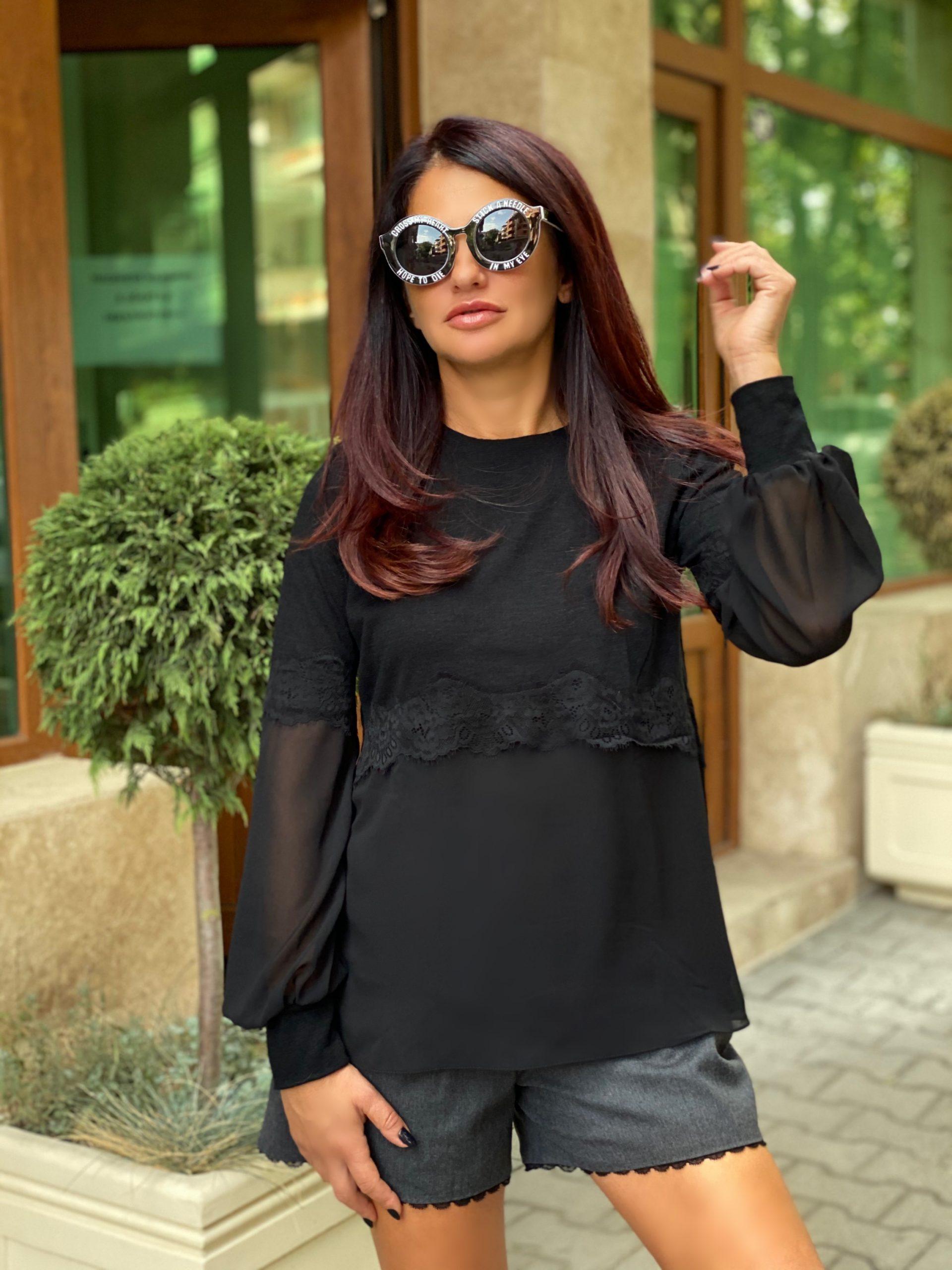 елегантен черен пуловер avin