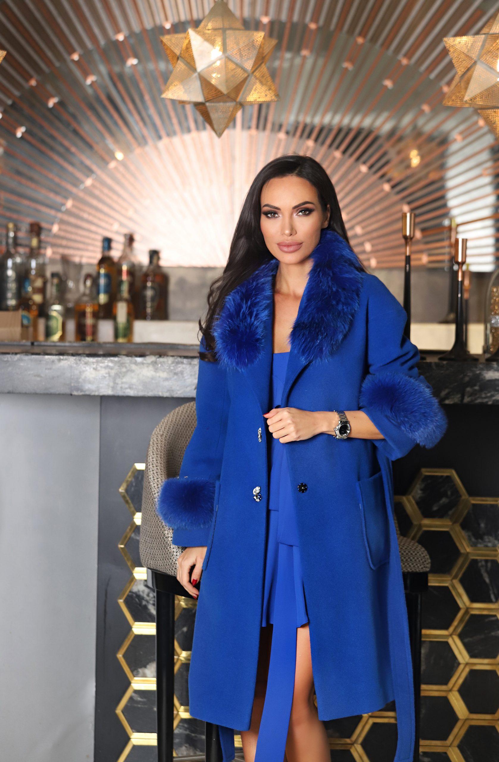 тъмно синьо палто avin с естествена кожа