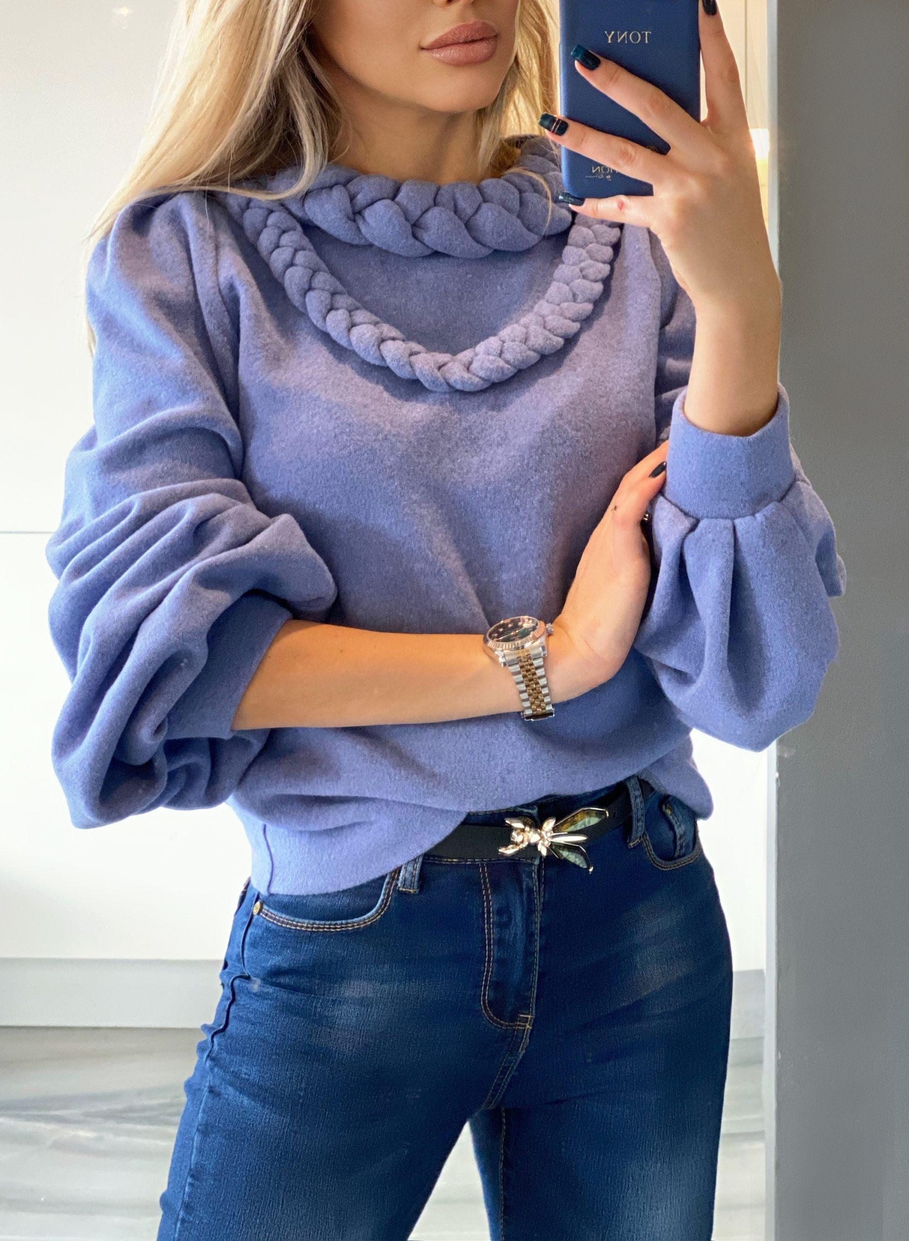 пуловер Violet светло лилав мек пуловер