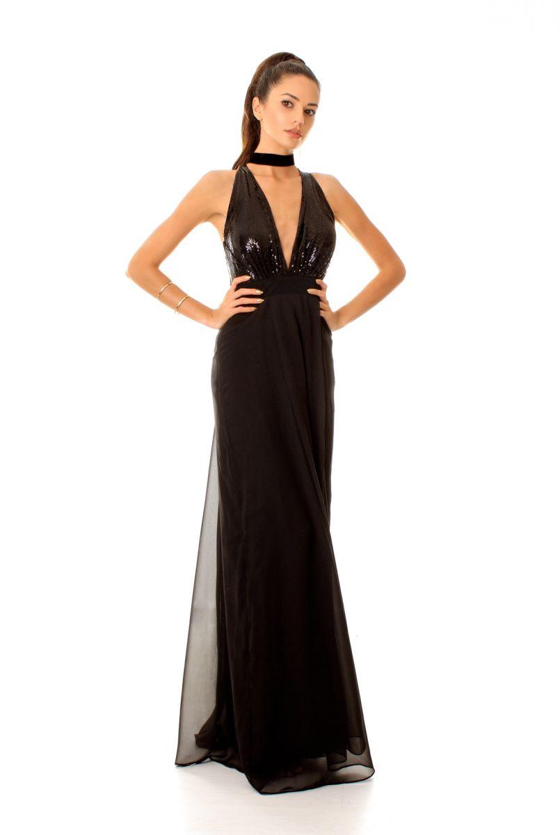 бутикова коктейлна рокля в черно