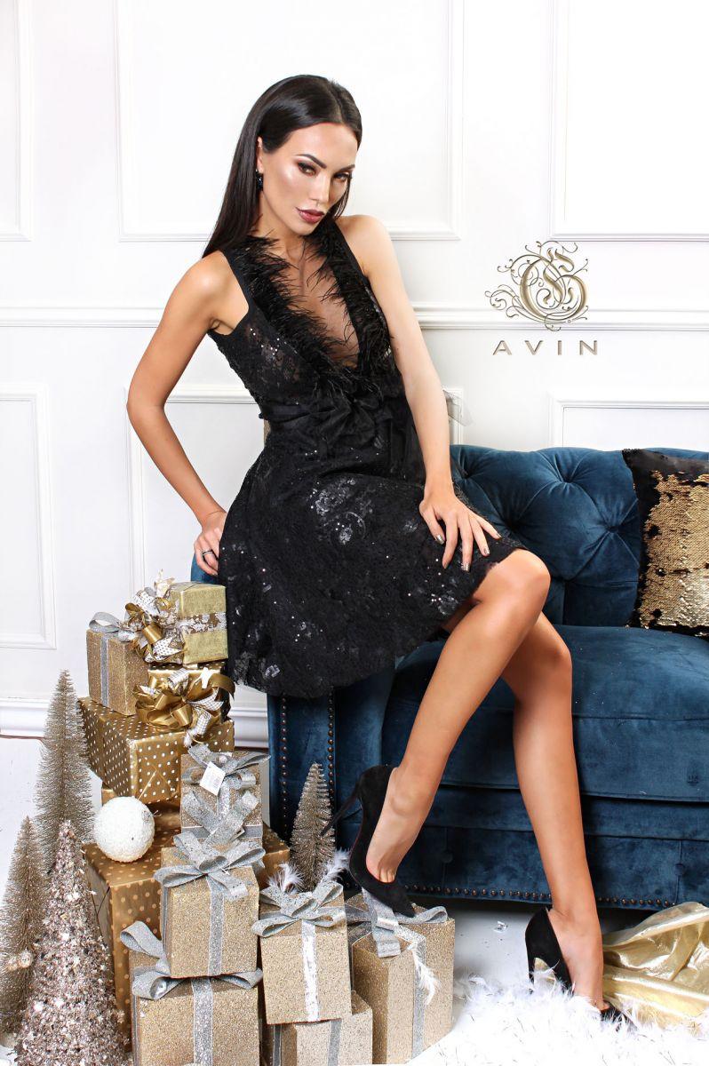 официална рокля с пера avin