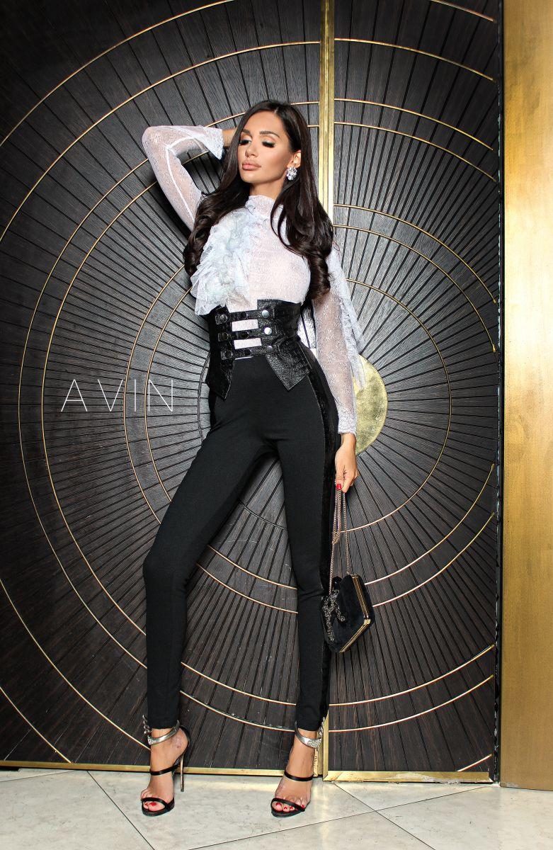 черен клин с кожа avin boutique