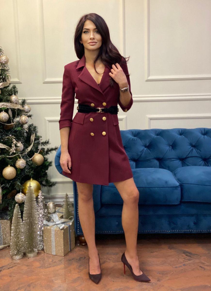Рокля сако цвят Burgundy
