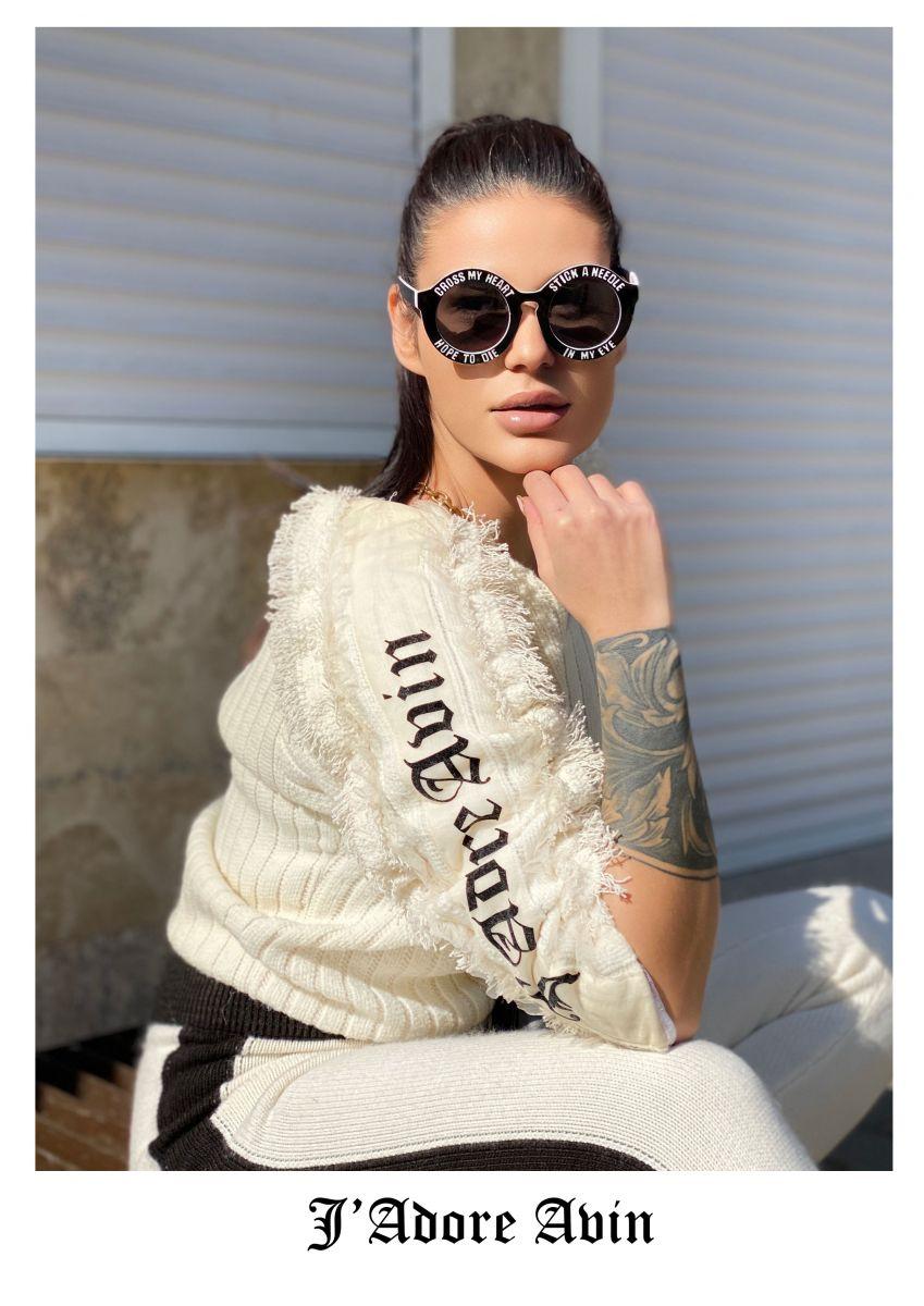 бял дизайнерски пуловер avin
