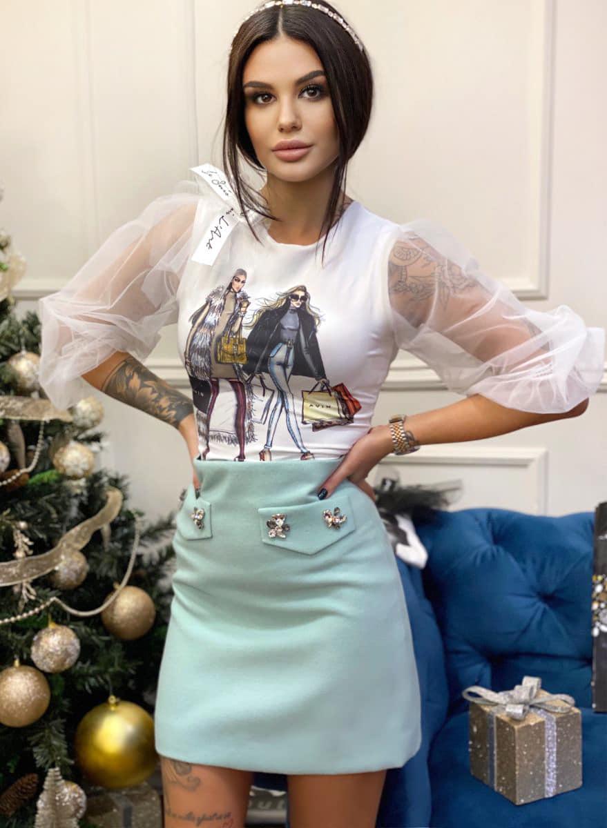 дамска бяла тениска avin shopping girls