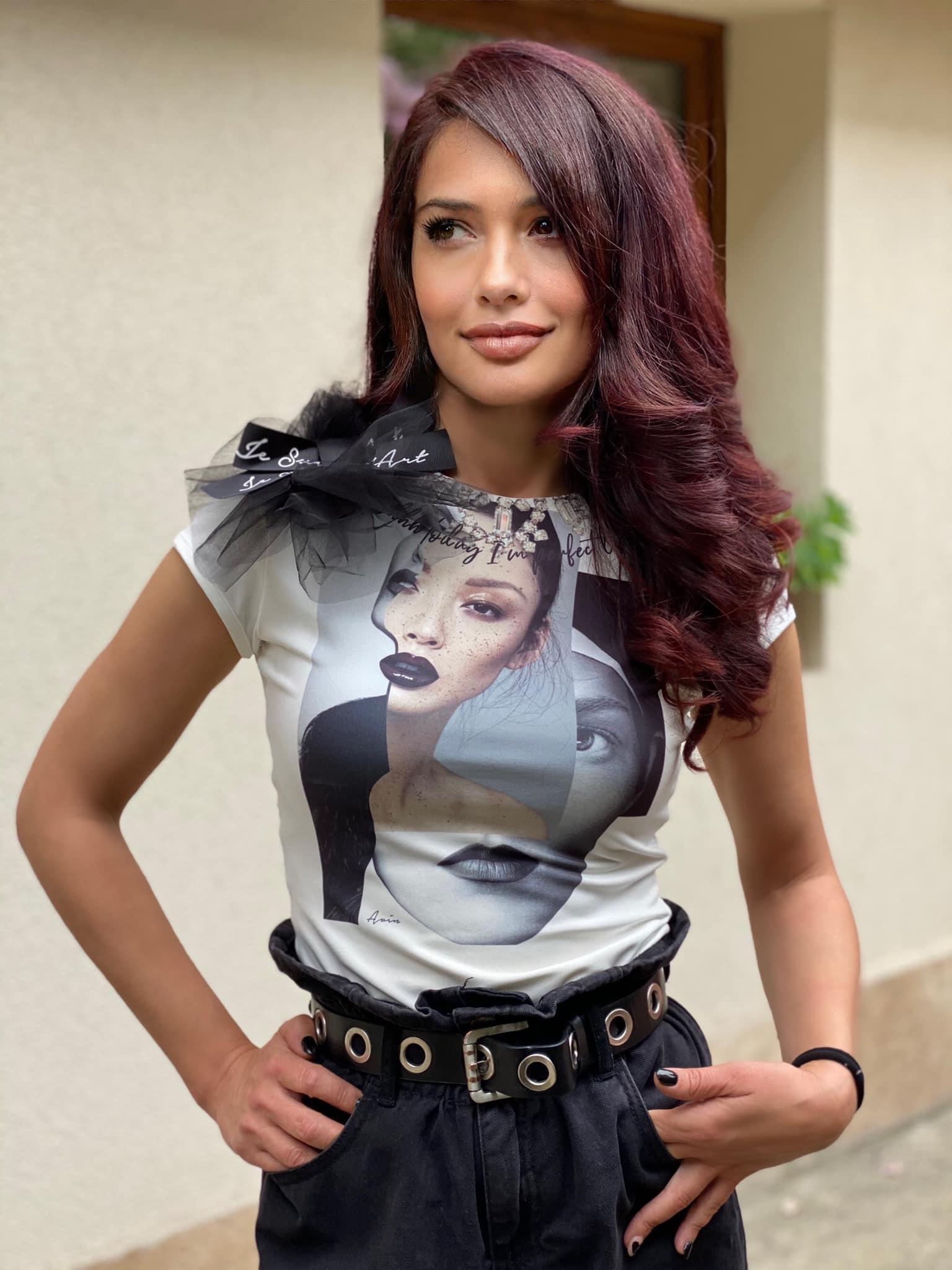 бяла дамска тениска с принт щампа crystal faces